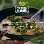 Crema de frijol con kale frito en aire y chile guajillo (Sopa Tarasca)